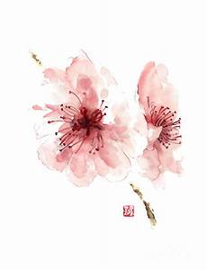 Cherry Blossom Art Print Watercolor Painting Japanese ...