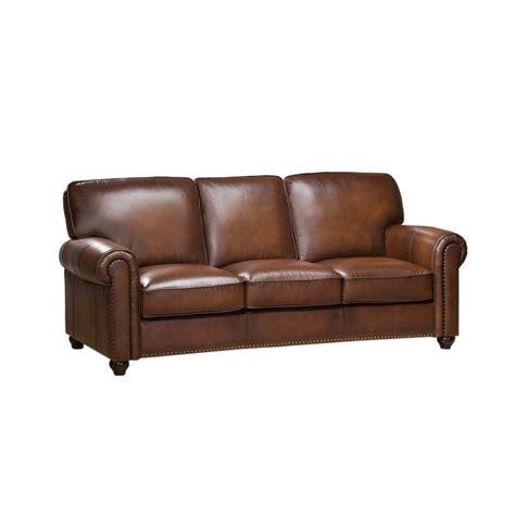 Original Leather Sofa Royale Olive Brown Genuine Leather Sofa With Nailhead Trim