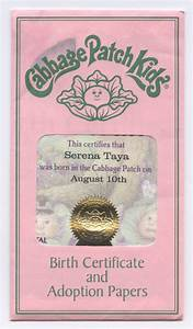 cabbage patch certificate printable see the small card with the code on it the seller printed With cabbage patch birth certificate template