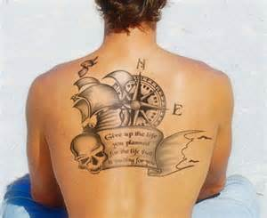 Upper-Back Compass Tattoo