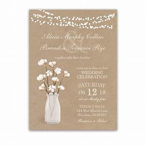 Rustic kraft paper wedding invitation cotton branches for Wedding invitations on cotton paper