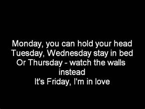 The Cure-Its Friday I'm in Love-Lyrics - YouTube