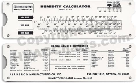 hvac charts humidity calculator pocket slide tool large view