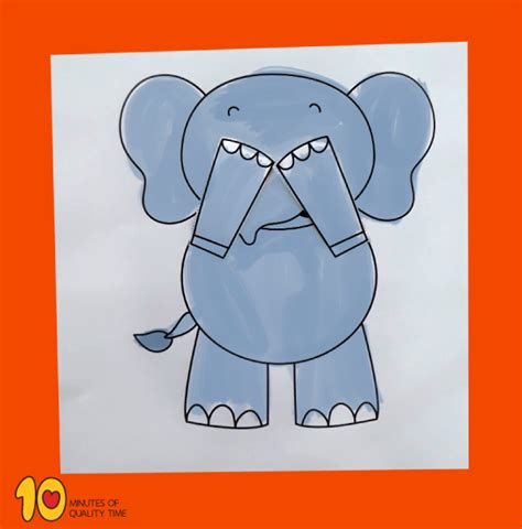 peekaboo elephant printable craft  minutes  quality time