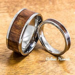 wedding band set of tungsten rings with hawaiian koa wood With hawaiian style wedding rings