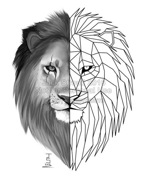 geometric lion tattoo  britishviperdeviantartcom