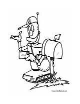 Coloring Robot Postal Worker sketch template