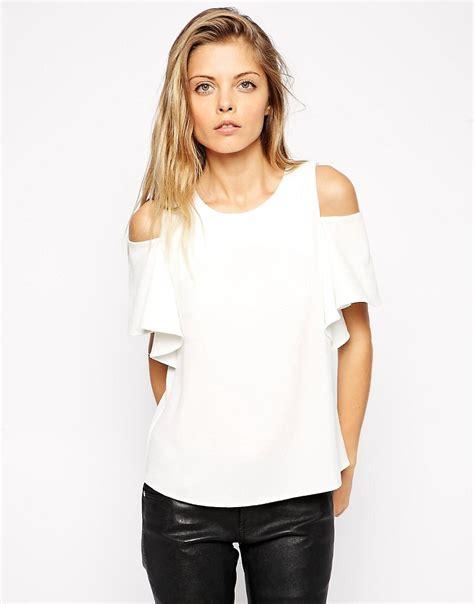 cold shoulder blouses asos asos crepe ruffle sleeve cold shoulder top at asos