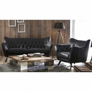 Canapé Vintage Cuir : canape cuir vintage noir 2 places mister canap ~ Teatrodelosmanantiales.com Idées de Décoration