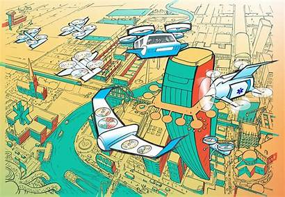 Future Drone Cities Technology Flying Illustration Drones