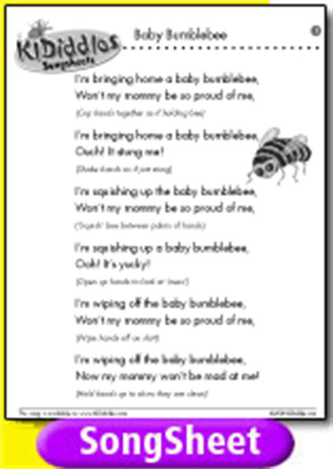 baby bumblebee song and lyrics from kididdles 660 | song sheet b002