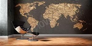 Tapisserie Carte Du Monde : papiers peints carte du monde mur aux dimensions ~ Teatrodelosmanantiales.com Idées de Décoration