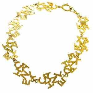 chanel vintage gold 39chanel39 charm letters choker necklace With chanel letter necklace