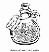 Coloring Potion Bottle Magic Sea Laboratory Shutterstock Antistress Graphic sketch template