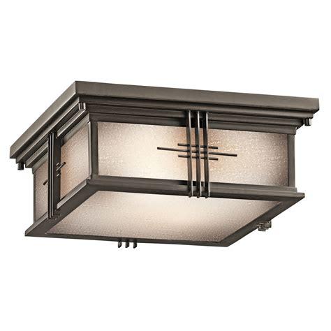 mission style wall kichler 49164oz portman square outdoor flush mount ceiling