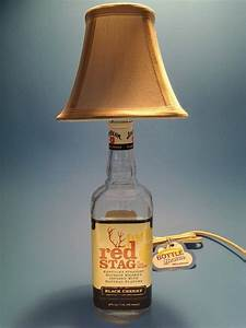 Jim Beam Red Stag Liquor Bottle Table Lamp W White Shade