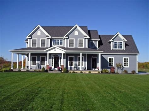Large Farm House Ideas Photo Gallery by Gray Exterior Farmhouse Wraparound Porch Abode