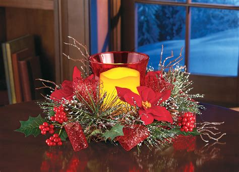 Holiday Poinsettia Evergreen Candle Centerpiece Led Holder U Shaped Galley Kitchen Designs Contemporary Pendants Traditional Accessories Cabinets Makeovers Contest Yellow Colors For Green Small Kitchens Design Ideas