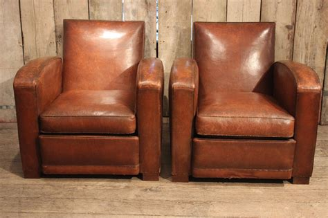 Pair Of 1930s French Tan Leather Club Armchairs