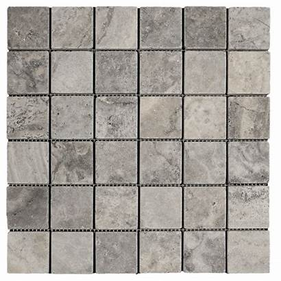 Tumbled Travertine Tile 2x2 Mosaic Silver Stone