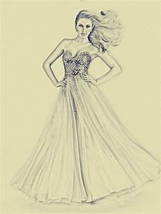 beautiful sketch of prom dress