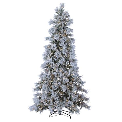 sterling nine foot flocked led trees sterling 9 ft indoor pre lit lightly flocked snowbell pine with 900 cool white twinkling lights