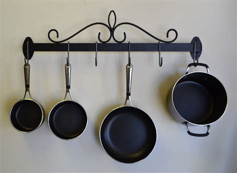 rack for pots and pans j j wire wall pot and pan rack ebay