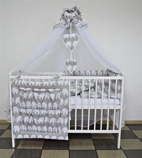 Grey Elephant Baby Bedding Set Cot Or Cot Bed 5 7 9 Pcs