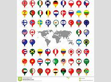 World Flags On Map Pins Stock Photography Image 35326892