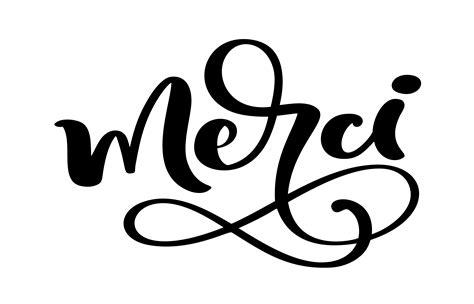vector hand drawn lettering merci elegant modern
