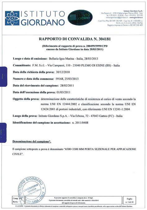 Fm Porte Sezionali by Certificazione Resistenza E Carico Di Vento Fm Porte Sezionali