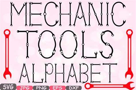 mechanic tools alphabet svg silhouette cutting files letters abc handyman sign icons cricut
