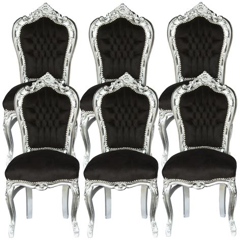 6 chairs black silver baroque table dining room