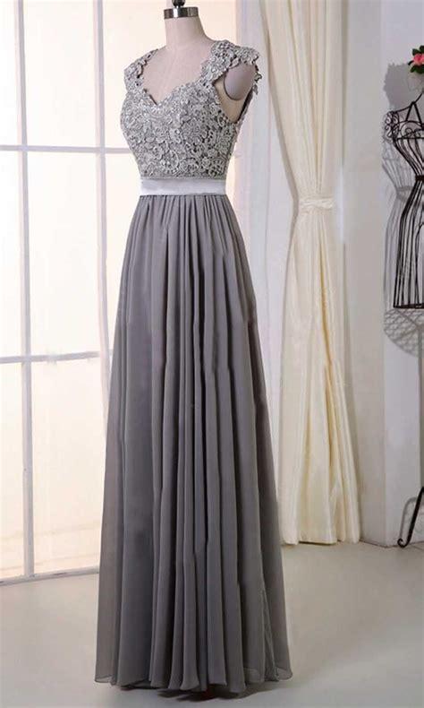 Gray Lace Cap Sleeves Long Bridesmaid Dresses KSP385 ...