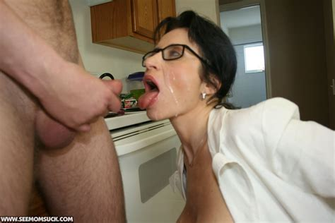 Naughty Mature Brunette In Glasses Gets A Facial Cumshot