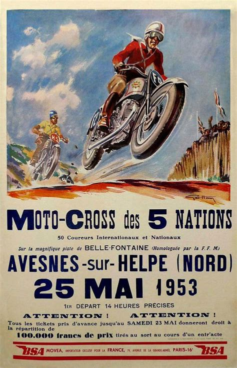 vintage motocross races vintage motocross of 5 nations poster 1953 repro