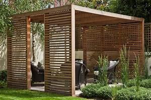 cedar pavillion modern clean softened by planting and With katzennetz balkon mit garden pergola