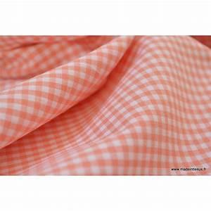 Tissu vichy en coton petits carreaux corail for Tissus carreaux vichy