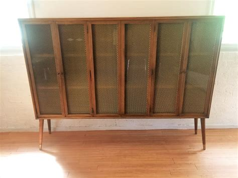 decorative metal screen for cabinets mcm decorative walnut display cabinet with bronze wire