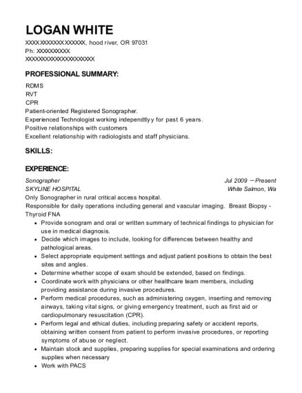 Diagnostic Sonographer Resume by Imagus Inc Diagnostic Imaging Clinics Sonographer Resume