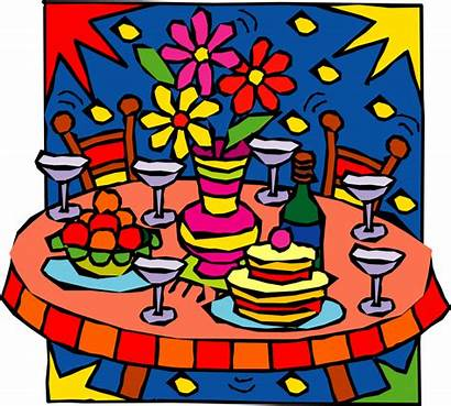 Party Clipart Table Birthday Banquet Clip Holiday