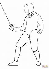 Coloring Fencing Saber Pages Drawing Fencer Printable Template Supercoloring sketch template