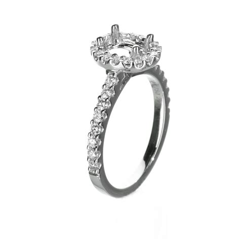 oval halo engagement ring in 18 karat white gold 53 tcw