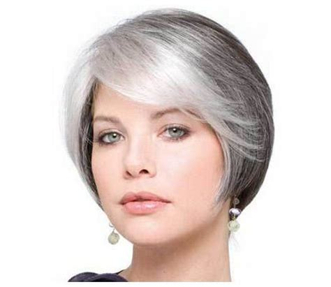 gray hair styles women with white hair short