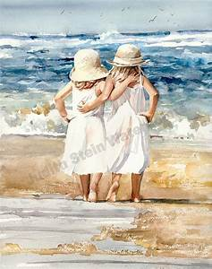 Sister Friend Hug Beach White Dress Straw Sun Hat