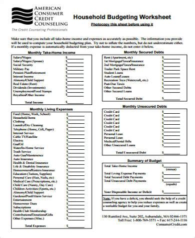 sle household budget worksheet 9 exles in word pdf