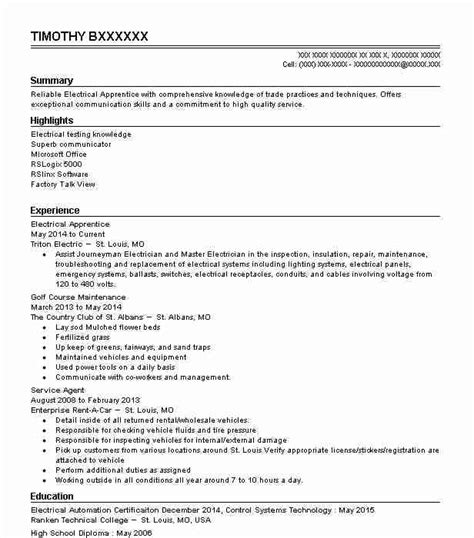 Electrician Apprentice Resume Sle by Electrical Apprentice Resume Sle Resumes Misc