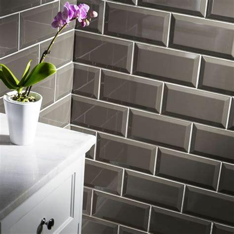 sle of gloss dark grey metro bevelled edge ceramic wall