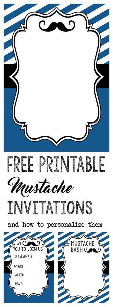mustache party baby shower  birthday invite paper