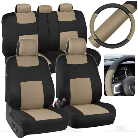 Bench Seat Covers For Cars by Beige Car Seat Covers Set Split Bench Option 5 Headrests W